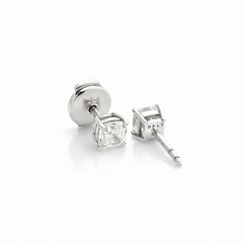 BOUTONS D'OREILLES DIAMONDFLY Or gris 18k (750/1000). - DFLY Paris