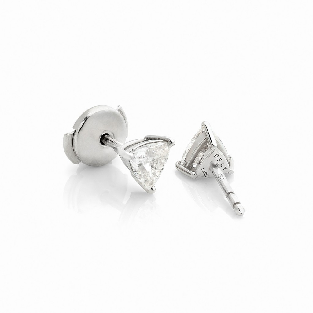 BOUTONS D'OREILLES DIAMONDFLY Or gris 18k (750/1000). - DFLY Paris