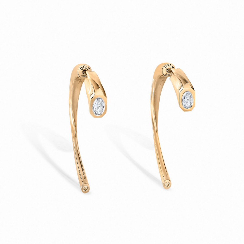 BOUCLES D'OREILLES ODDITY Or jaune 18k (750/1000). - DFLY Paris