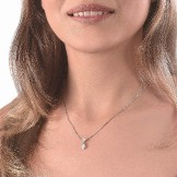 RAS DU COU POIRE DIAMONDFLY Or gris 18k (750/1000). - DFLY Paris