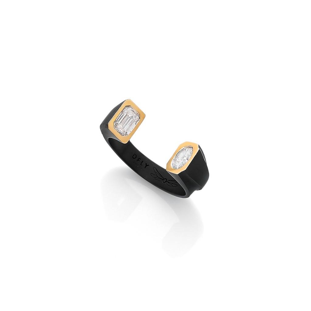 ODDITY BLACK LINE RING 18k (750/1000) Blackened Gold. - DFLY Paris
